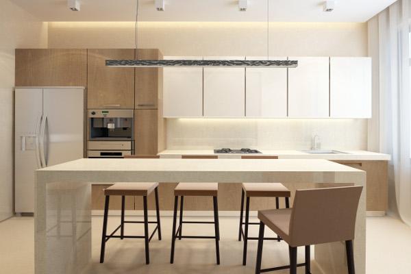 Wood kitchen with granite island